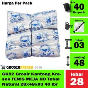 GK92 Grosir Kantong Kresek TENIS MEJA HD Tebal Natural 28x48x03 40 lbr