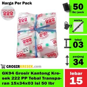 GK94 Grosir Kantong Kresek 222 PP Tebal Transparan 15x34x03 isi 50 lbr