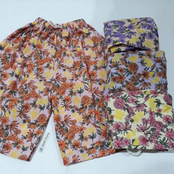 Celana Santai Wanita Motif Bunga Warna Warni Random W303