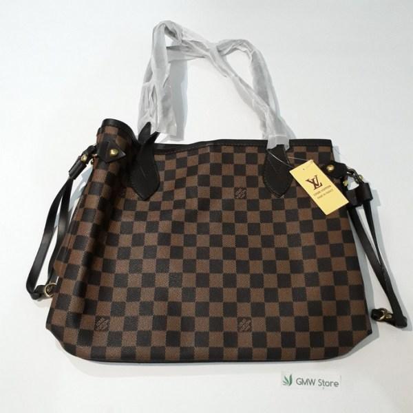 Tas Hand Bag LV Motif Coklat Kotak W240