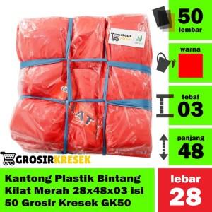 Kantong Plastik Bintang Kilat Merah 28x48x03 isi 50 Grosir Kresek GK50