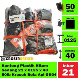 Kantong Plastik Hitam Sedang 21 x 0125 x 40 50 lb Kresek Bola Api GK04