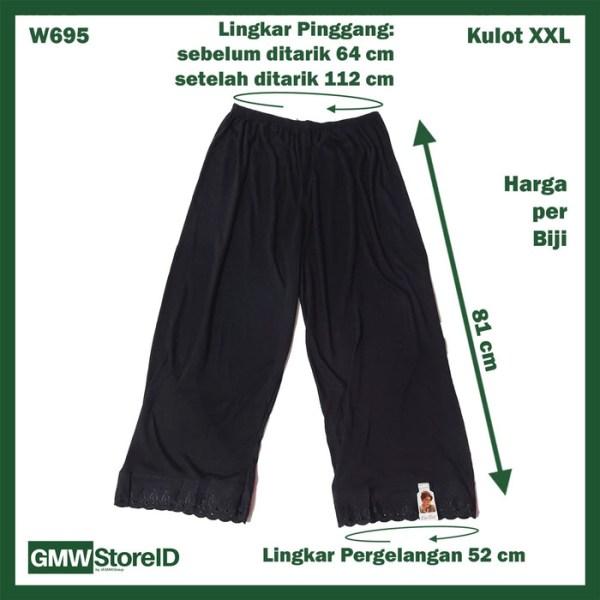 Androk Kulot Hitam Celana Sampai Mata Kaki Panjang Cin-Cin 3L XXL W695