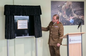 General Robert Nitsch CBE unveils the commemorative plaque