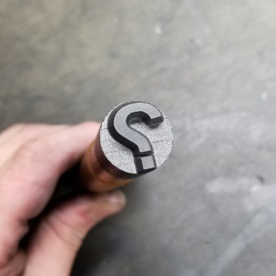 This is our Graphite Question Mark Stamp
