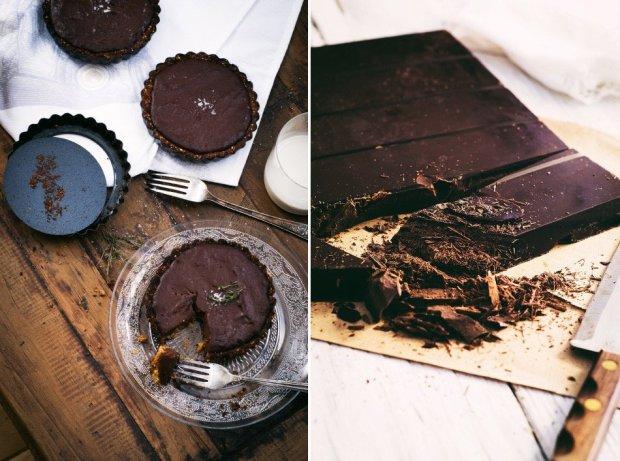 (vegan & gluten free) salted chocolate tarts | gnom-gnom.com