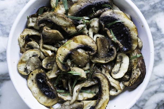 Grilled mushrooms with lemon and tarragon- the ideal sidekick to grilled meats