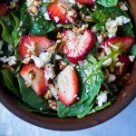 Strawberry Salad, with Basil, Spinach, Pecans & Feta