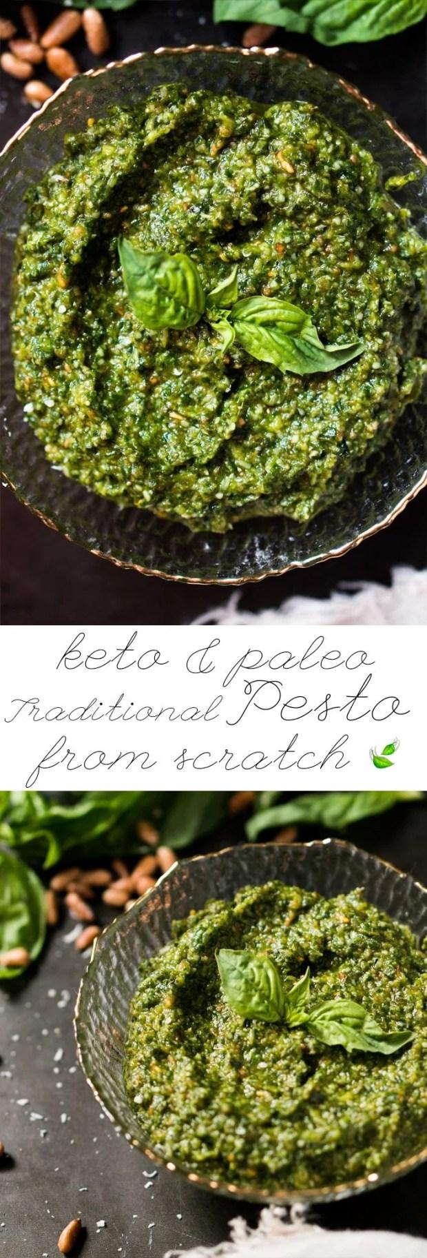 Paleo, Low Carb & Keto Pesto 🍃 A traditional Italian recipe from scratch! #keto #ketodiet #lowcarb #paleo #ketorecipes