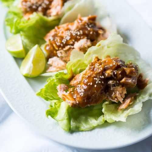 Paleo & Keto Salmon Teriyaki Lettuce Wraps 🐟