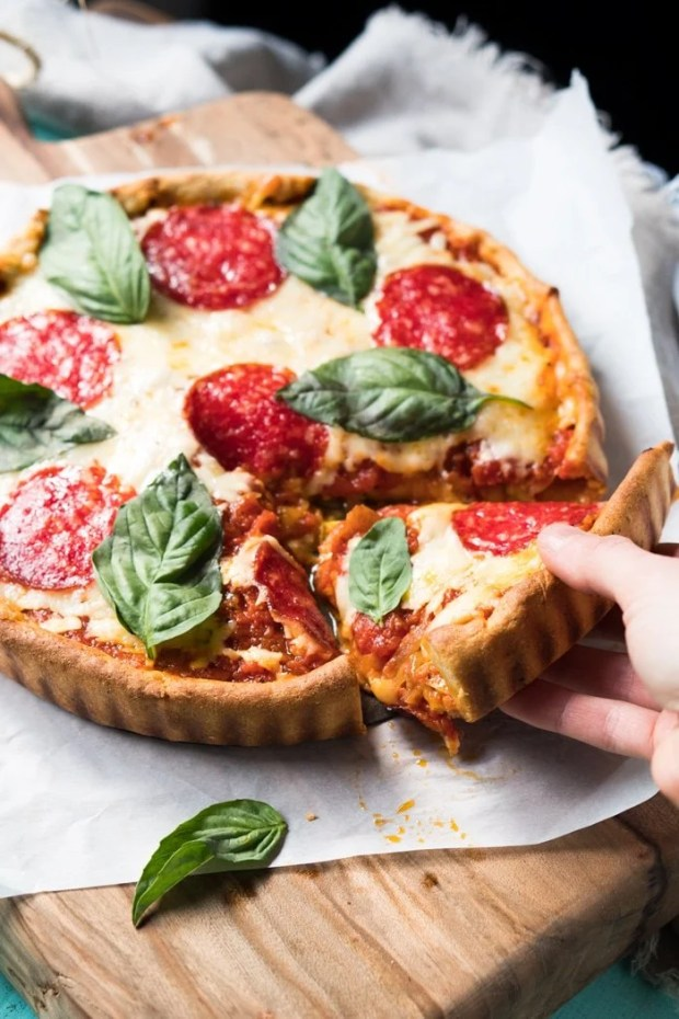 Gluten Free & Keto Deep-Dish Pizza 🍕 #ketopizza #glutenfreepizza #deepdishpizza