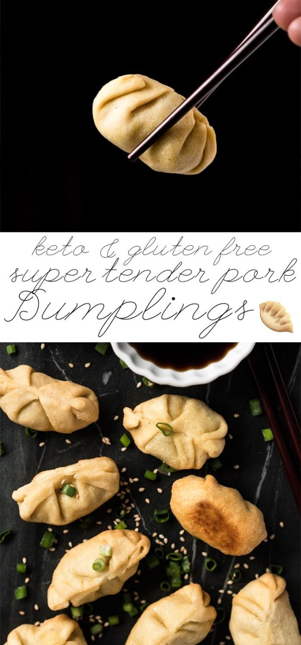 Gluten Free, Grain Free & Keto Dumplings 🍜 Super tender, lightly fried and filled with steamed ginger pork! #keto #glutenfree #grainfree #lowcarb #healthyrecipes