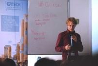 Lasse Schuirmann gives his lightning talk. (Photo by Jakub Steiner.)
