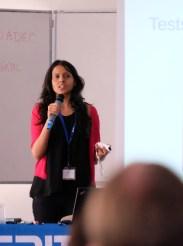 Shivani Poddar gives her lightning talk. (Photo by Garrett LeSage.)