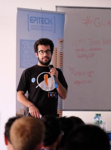 Marcos Chavarria Teijeiro gives his lightning talk. (Photo by Garrett LeSage.)