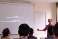"Lionel Landwerlin presents ""Flow based programming in the GNOME environment"". (Photo by Garret LeSage.)"