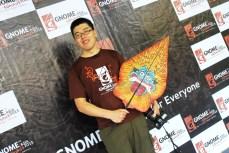 Ben Li posting with Gunungan