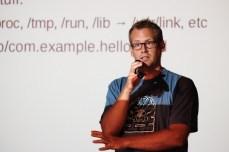 Alexsander Larsson present his work with Sandboxing apps (Photo by Garrett LeSage.)