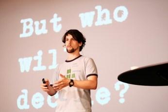 Matthias Kirschner present Keynote (Photo by Garrett LeSage.)