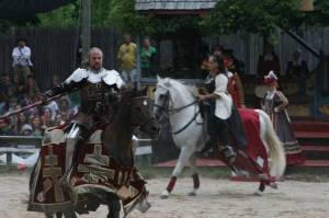 The queen's Master of the Horse keeps her eyes on Sir Cheats Alot, a braggart and villain who seeks any advantage on the field of honor. (Photo by Dixie Schroeder)