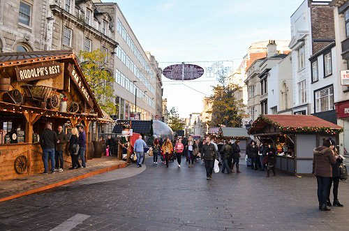 Shopping district during the holidays