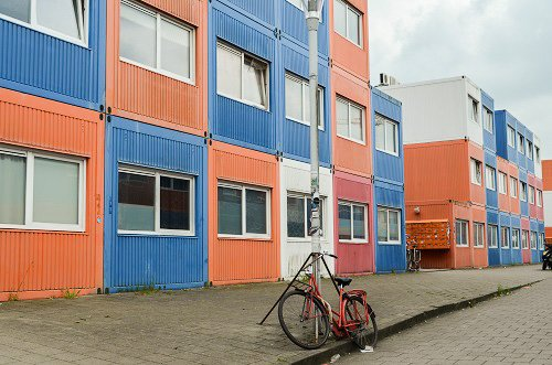 Community of shipping container apartments.