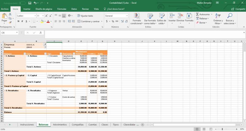 Contabilidad en MS Excel Multimoneda Multicompañía