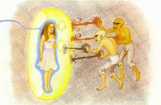 """ao dormirmos, nós em corpo astral saímos do físico. É nesses momentos extrafísicos que podemos manter contato com seres, tanto superiores (mestres, anjos, arcanjos) quanto inferiores (almas sofredoras, """"vagabundos astrais"""", vampiros, magos negros etc.). Por isso é de vital importância realizar as orações, mantras e conjuros ao nos deitarmos."""