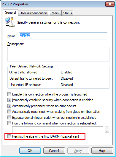 enable-restrict-the-size-of-the-first-isakmp-packet-sent