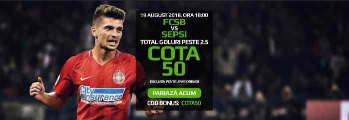 Cota 50.00 pentru minim 3 goluri in FCSB vs Sepsi