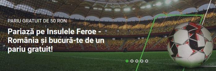 Cum poti primi 50 ron freebet la meciul Feroe - Romania