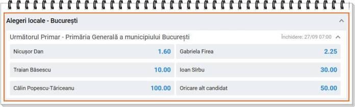 Cote pariuri alegeri Bucuresti