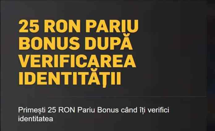 Ai 25 RON bonus la verificarea contului!