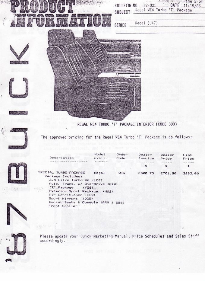 Buick Turbo Regal Option Codes (Regular Production Options