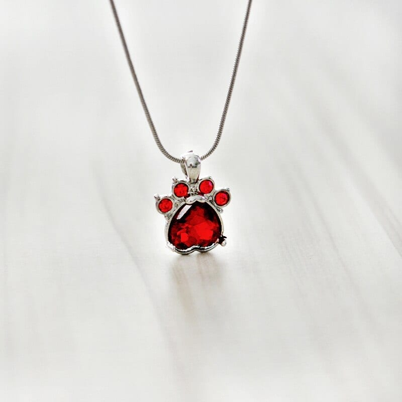 paw foot print charm necklace Personalized