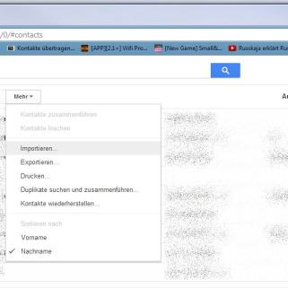 Kontakte in Google importieren