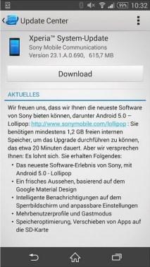 Sony Xperia Z3 Lollipop-Update