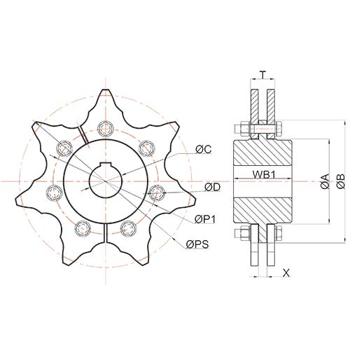 4B Sprockets and Trailers for Drag Chain Conveyors