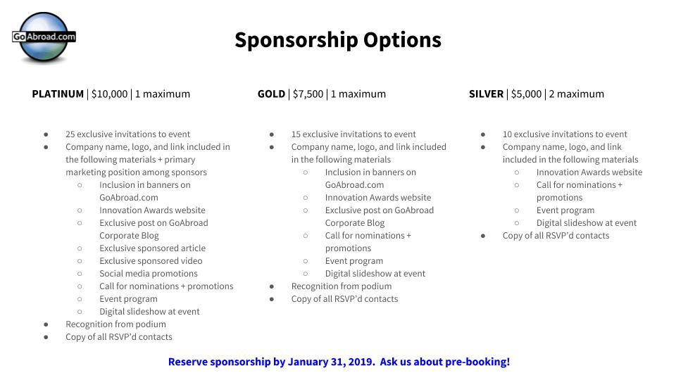 Innovation Awards sponsorship