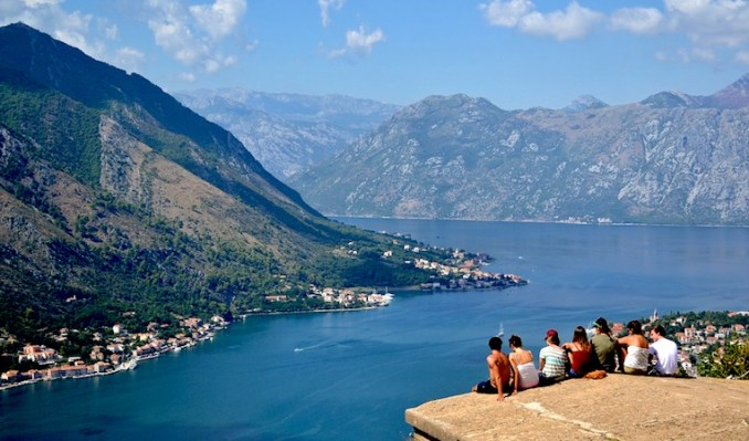 friends looking out on montenegro