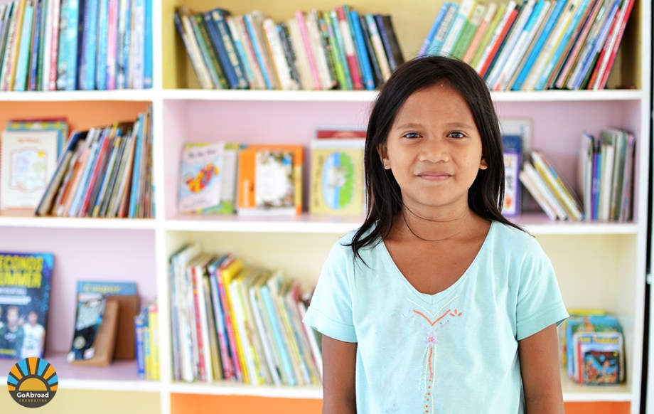 A girl in a library
