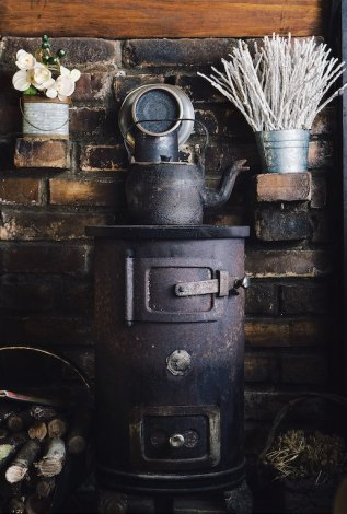 Wood burning stove in a kitchen