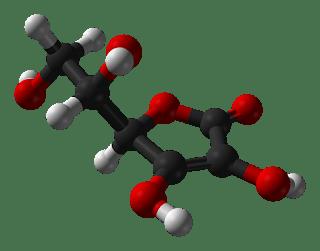Ball-and-stick model of L-ascorbic acid