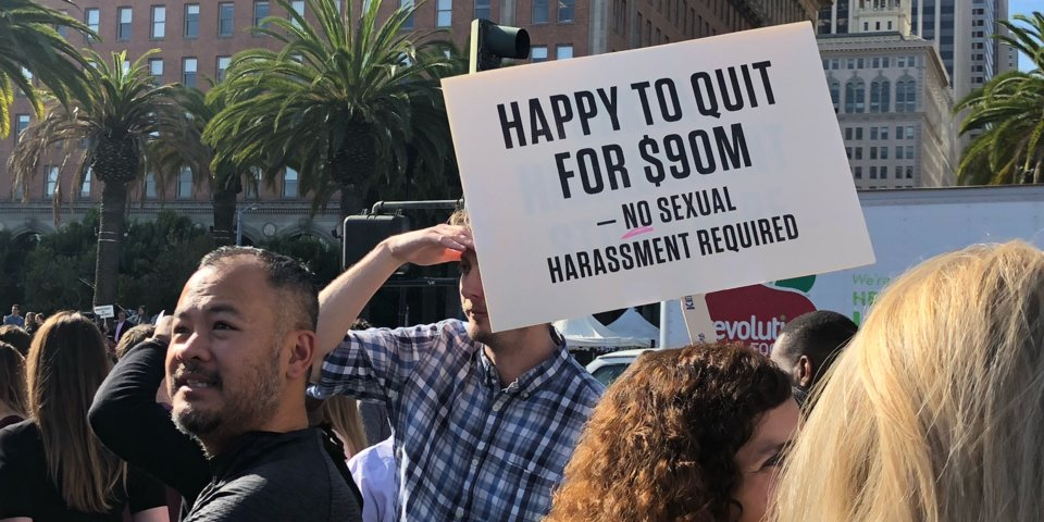 A sign at the Google walkout in San Francisco