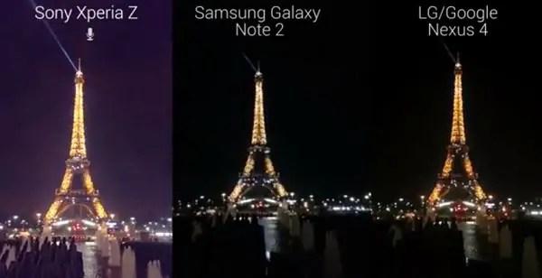 sony xperia z vs galaxy note 2 vs nexus 4 night