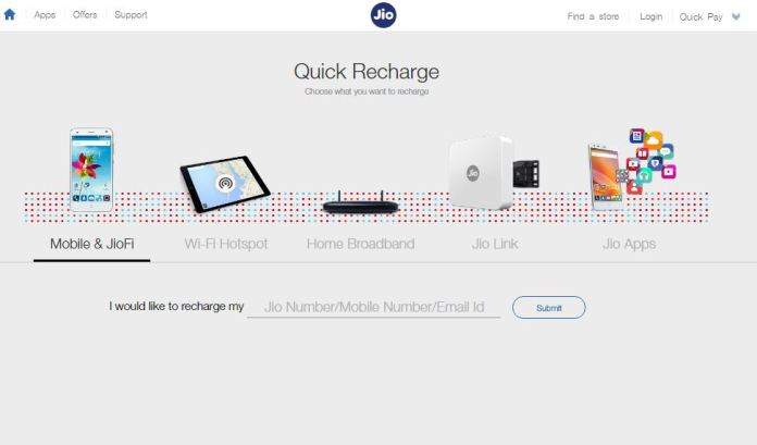 reliance jio recharge packs