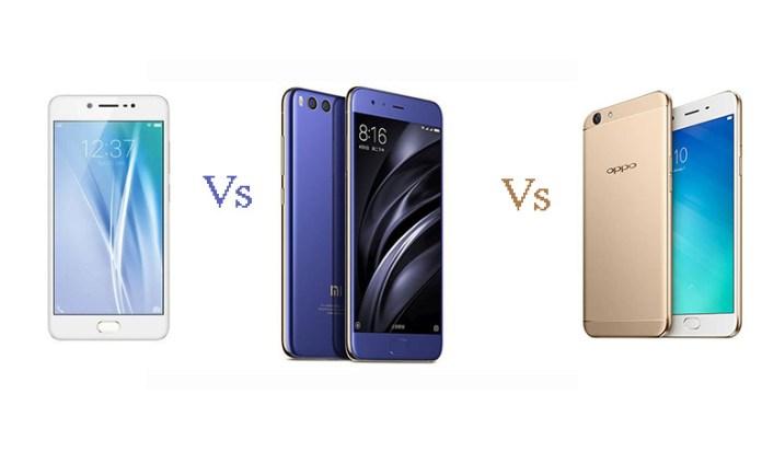 Vivo V5s vs Xiaomi Mi 6 vs Oppo F1s