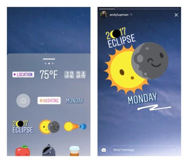 Instagram Solar eclipse sticker