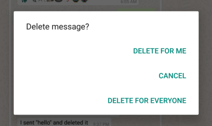 Whatsapp delete messages for everyone