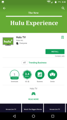 hulu experience android application ranking